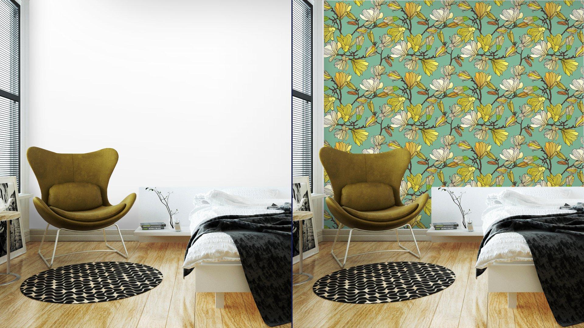 Fotomurales mexico papeles pintados textura floral sin fisuras 5 - Papel Tapiz Patrón Floral en Fondo Azul Tipo Vintage 01