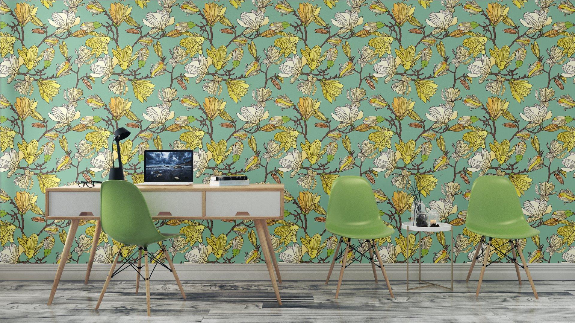 Fotomurales mexico papeles pintados textura floral sin fisuras 8 - Papel Tapiz Patrón Floral en Fondo Azul Tipo Vintage 01