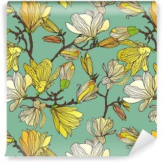Fotomurales mexico papeles pintados textura floral sin fisuras - Papel Tapiz Patrón Floral en Fondo Azul Tipo Vintage 01