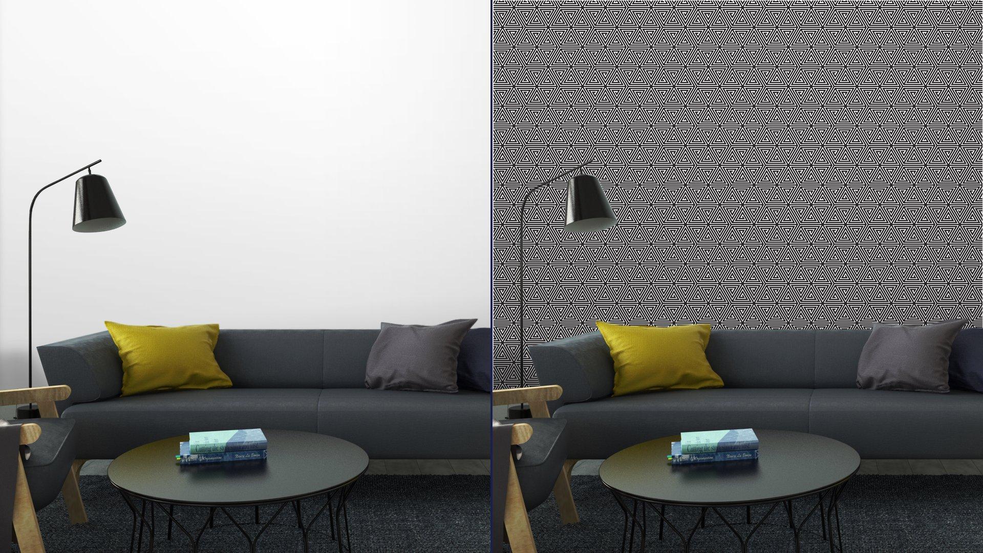 Fotomurales mexico papeles pintados triangulos blanco y negro modelo geometrico abstracto inconsutil 6 - Papel Tapiz Patrón Geométrico Triángulo 06
