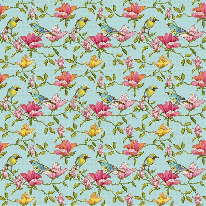 Fotomurales mexico papeles pintados vintage fondo inconsutil flores y pajaros 1 - Papel Tapiz Estilo Vintage Flores y Pájaros 01