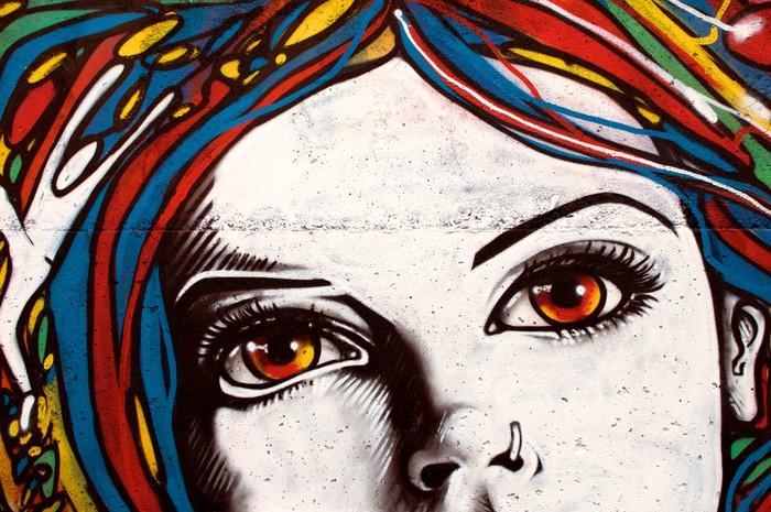 700 FO27188406 2e3bdeeb9e8ed5b339f079fbf9e3b6af - Fotomural Tapiz Moderno Rostro en Muro Tipo Graffiti