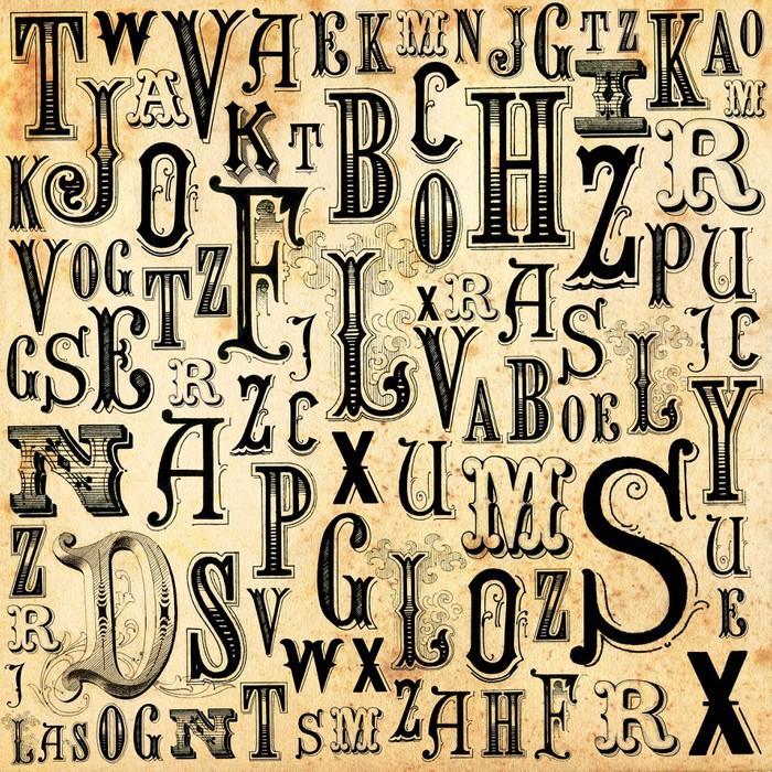 ABC VINTAGE BACKGROUND - Fotomural Tapiz Letras del Abecedario