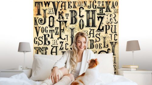ABC VINTAGE BACKGROUND1 500x281 - Fotomural Tapiz Letras del Abecedario