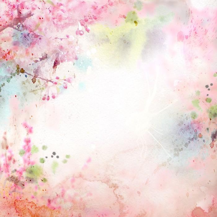ACUARELA DE FONDO ESCÉNICO COMPOSICIÓN FLORAL SAKURA - Fotomural Tapiz Composición Floral Sakura Tipo Acuarela