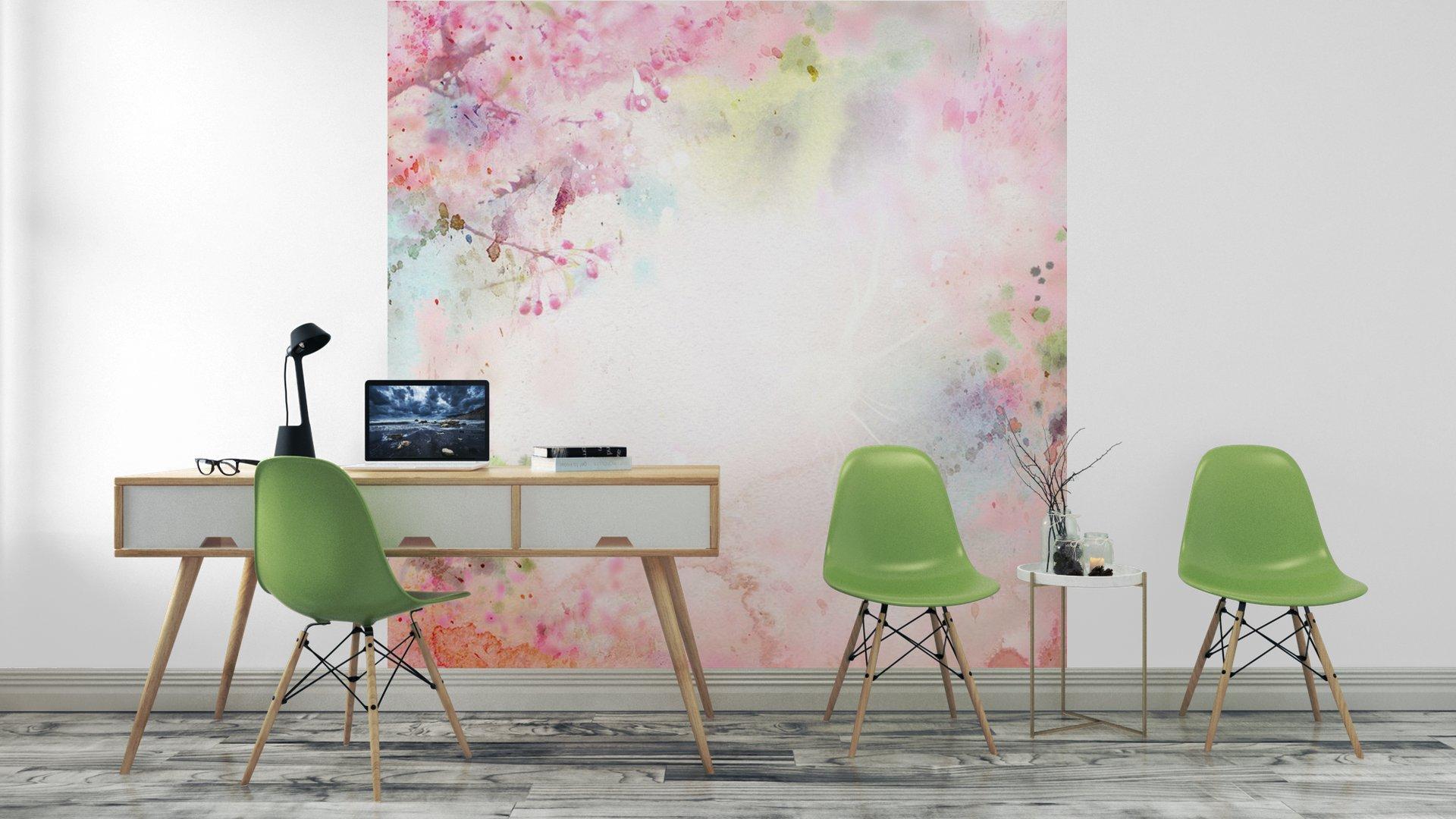 ACUARELA DE FONDO ESCÉNICO COMPOSICIÓN FLORAL SAKURA4 - Fotomural Tapiz Composición Floral Sakura Tipo Acuarela