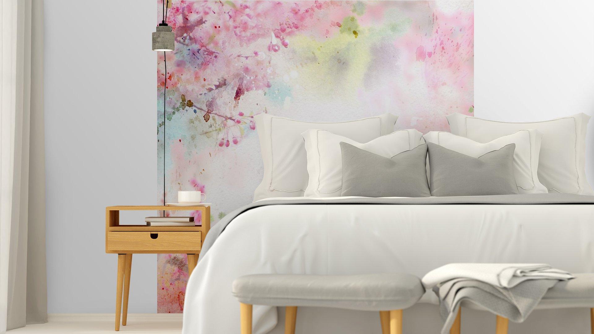 ACUARELA DE FONDO ESCÉNICO COMPOSICIÓN FLORAL SAKURA5 - Fotomural Tapiz Composición Floral Sakura Tipo Acuarela