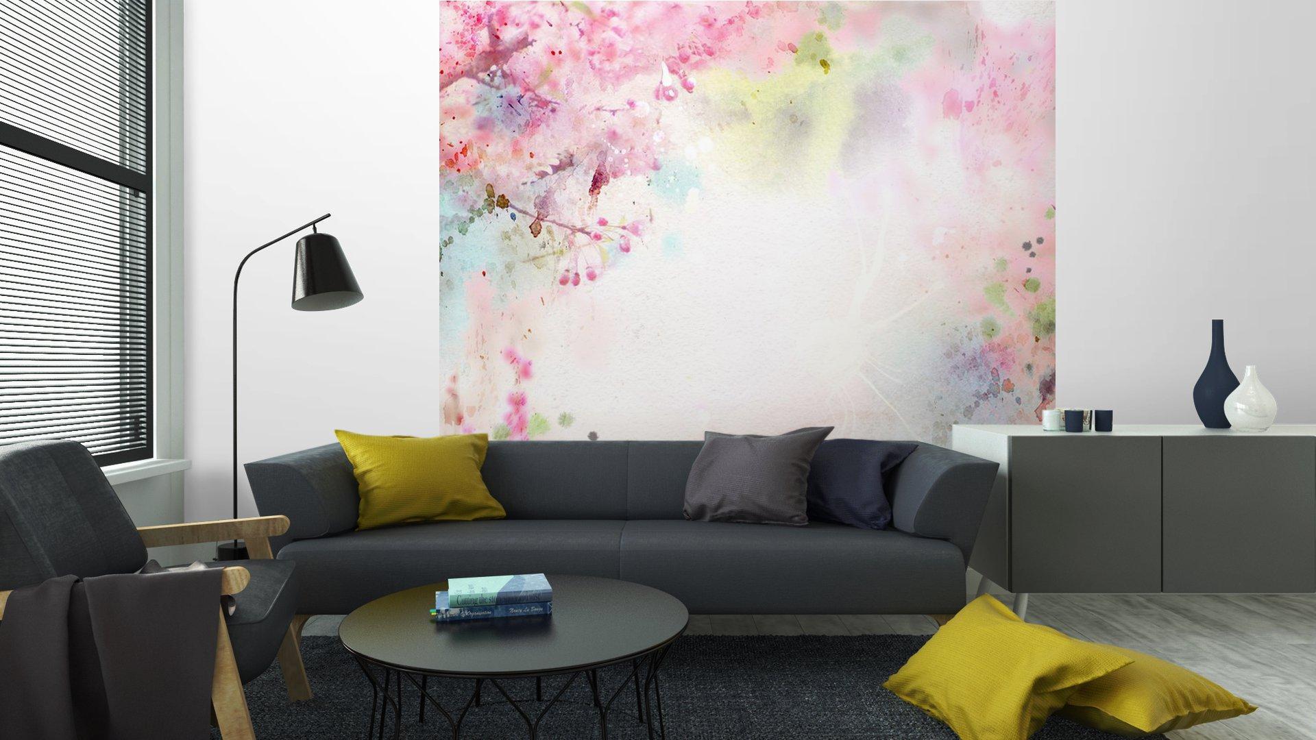 ACUARELA DE FONDO ESCÉNICO COMPOSICIÓN FLORAL SAKURA6 - Fotomural Tapiz Composición Floral Sakura Tipo Acuarela