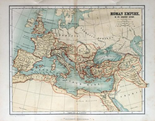 ANTIGUO MAPA DEL IMPERIO ROMANO 1870 500x391 - Fotomural Tapiz Antiguo Mapa del Imperio Romano 1870