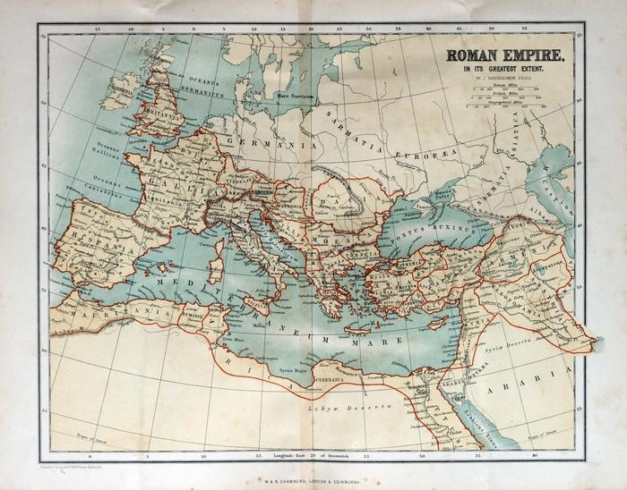 ANTIGUO MAPA DEL IMPERIO ROMANO 1870 - Fotomural Tapiz Antiguo Mapa del Imperio Romano 1870