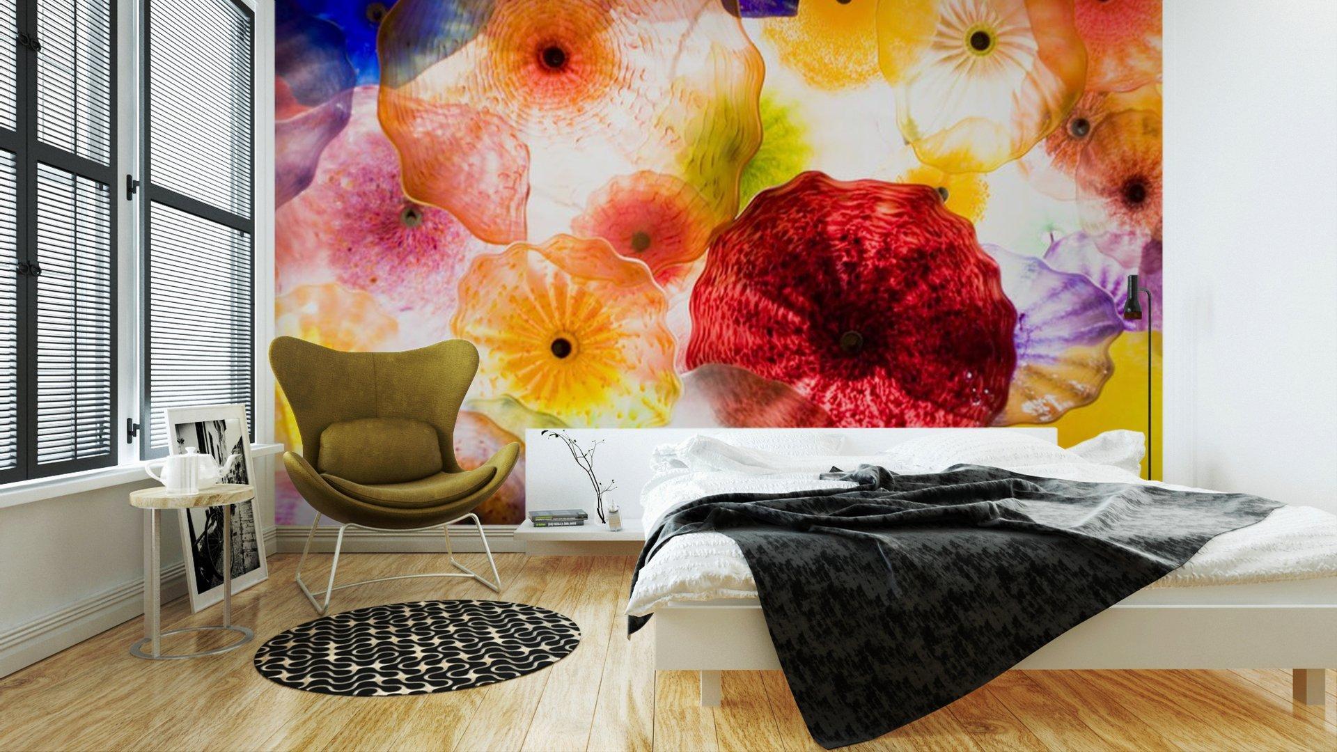 ARTE EN VIDRIO2 - Fotomural Tapiz Patrón Floral 01