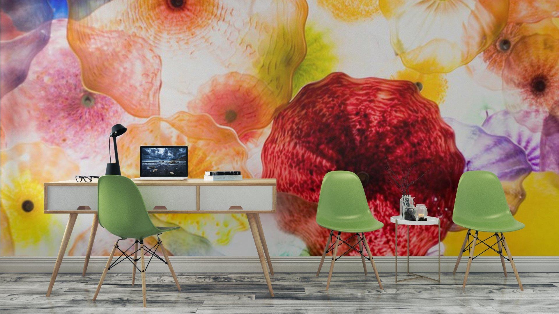 ARTE EN VIDRIO5 - Fotomural Tapiz Patrón Floral 01