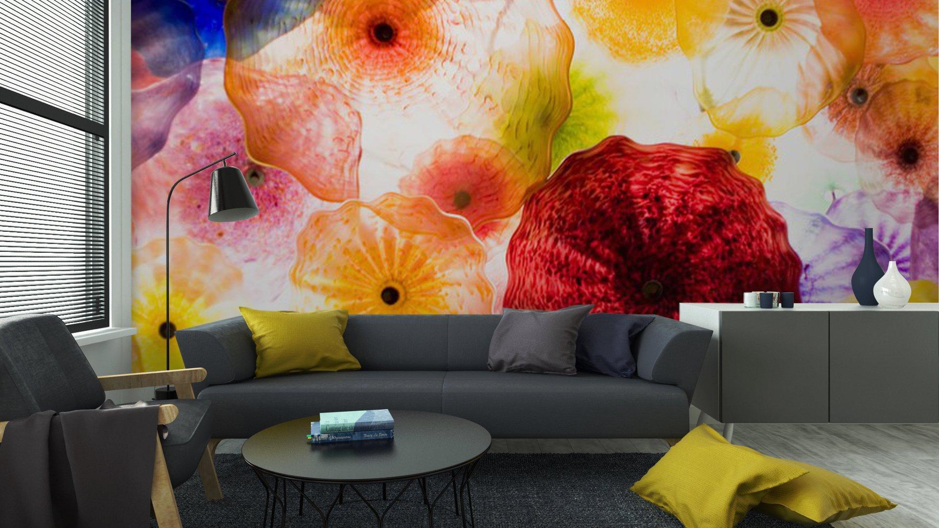 ARTE EN VIDRIO7 - Fotomural Tapiz Patrón Floral 01