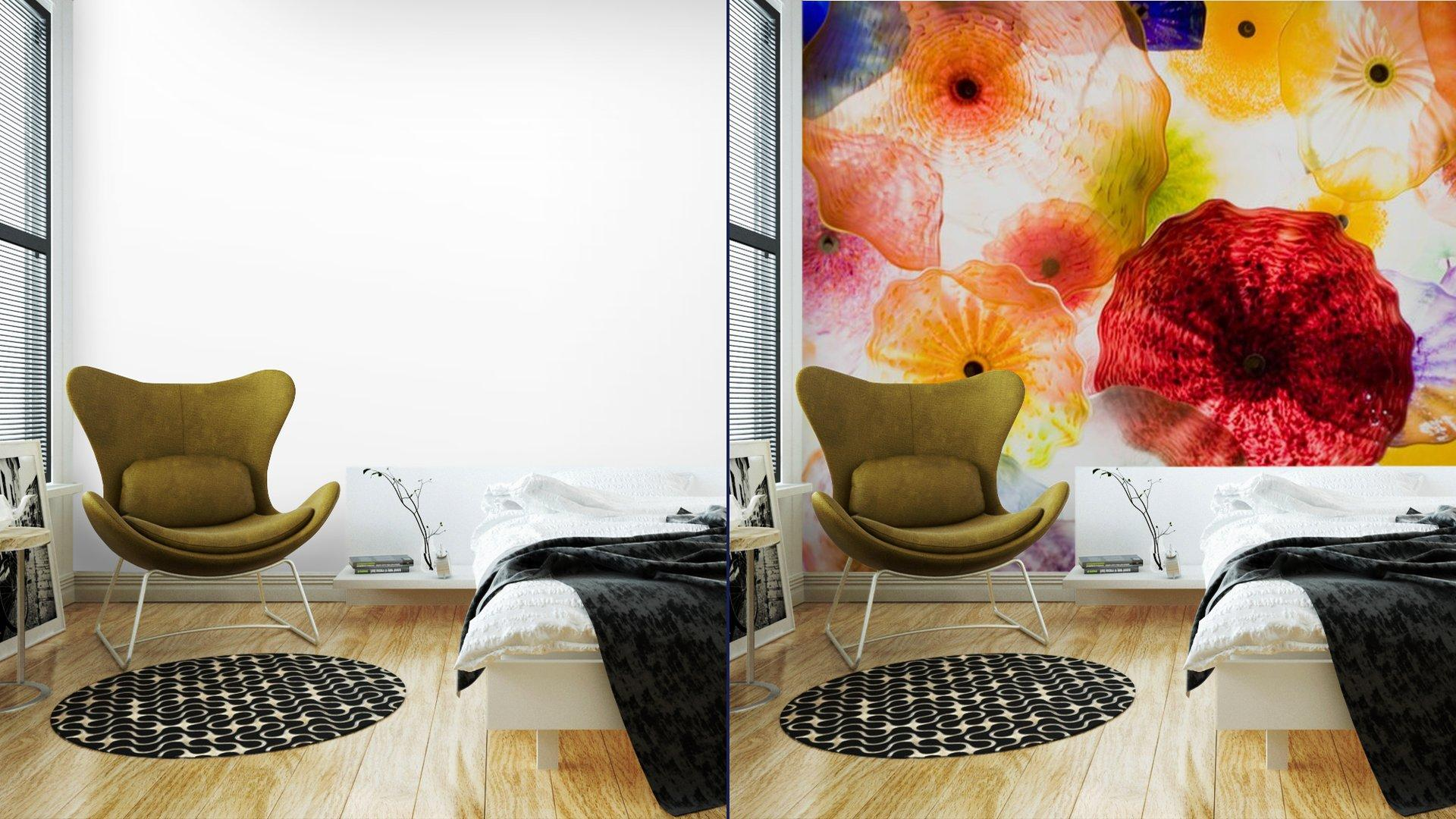 ARTE EN VIDRIO8 - Fotomural Tapiz Patrón Floral 01