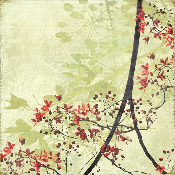 BORDER BLOSSOM ENREDADOS EN PAPEL ANTIGUO - Fotomural Tapiz Flor de la Frontera Tipo Papel Antiguo