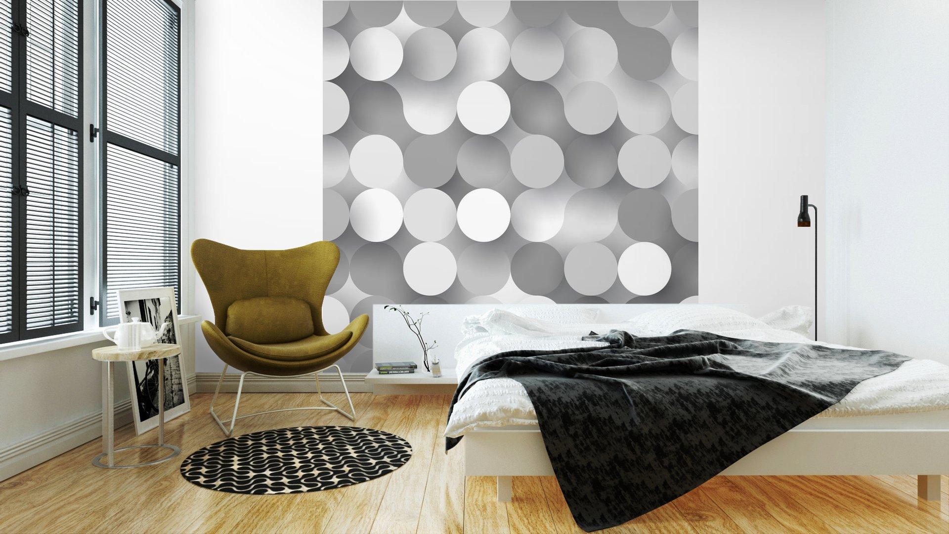 CÍRCULOS PLANAS SIN COSTURA2 - Fotomural Tapiz Tipo Abstracto Fondo Blanco