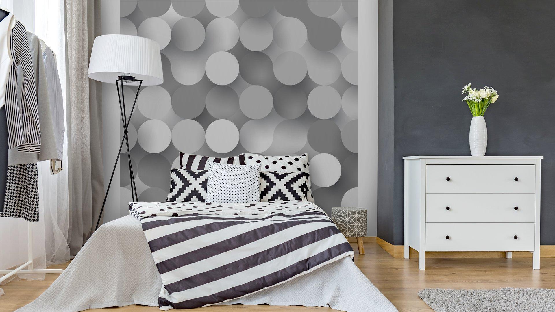 CÍRCULOS PLANAS SIN COSTURA3 - Fotomural Tapiz Tipo Abstracto Fondo Blanco