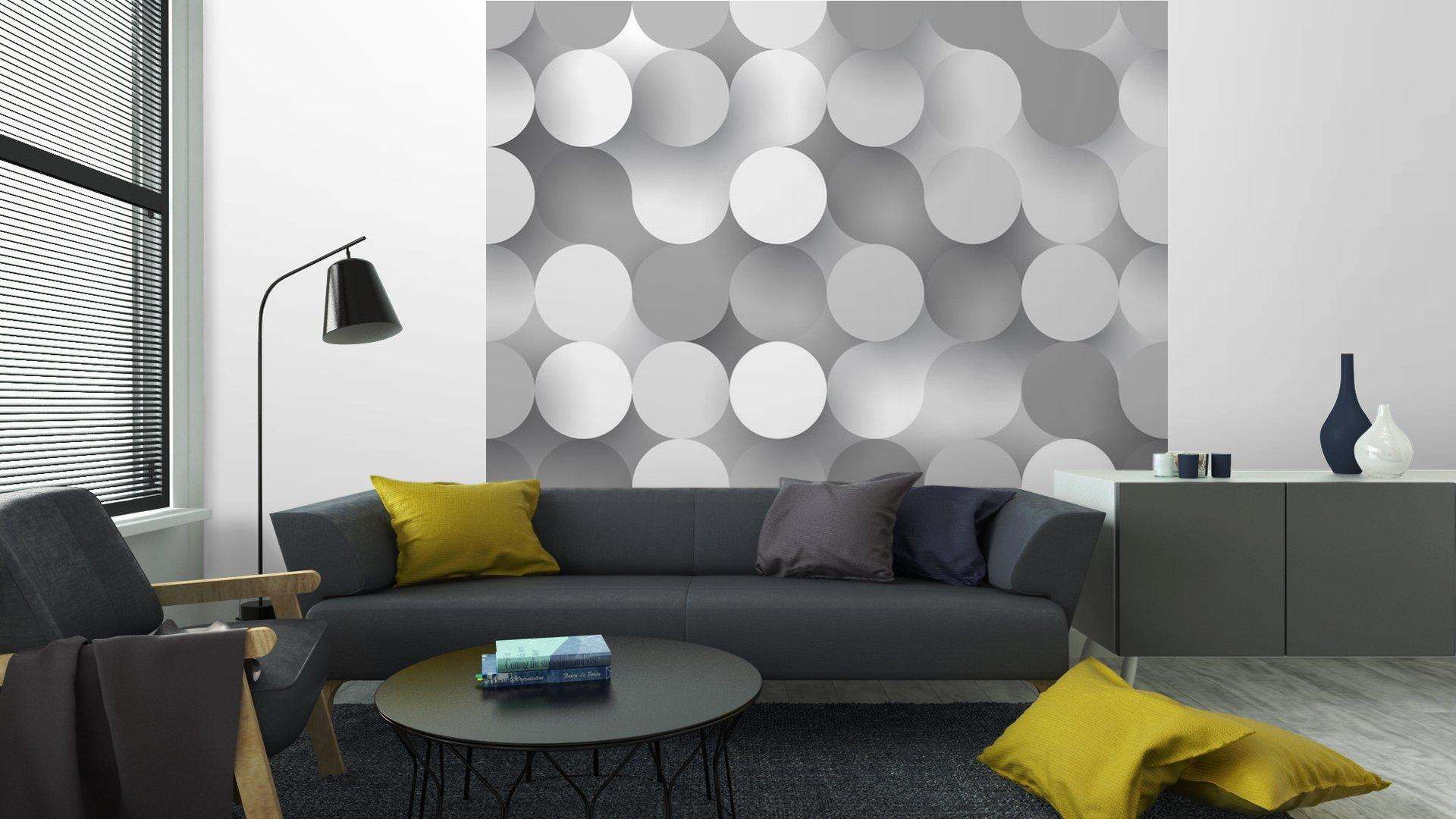 CÍRCULOS PLANAS SIN COSTURA6 - Fotomural Tapiz Tipo Abstracto Fondo Blanco