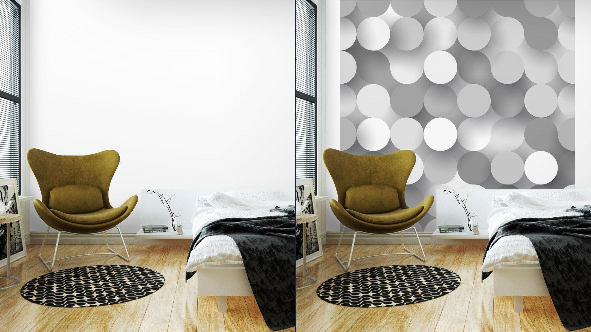 CÍRCULOS PLANAS SIN COSTURA7 - Fotomural Tapiz Tipo Abstracto Fondo Blanco