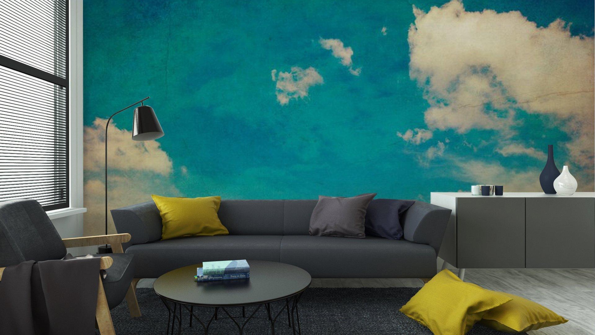 CIELO AZUL Y LAS NUBES TEXTURA DE FONDO DE LA VENDIMIA CON EL ESPACIO6 - Fotomural Tapiz Cielo Azul con Nubes