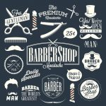 Set of vintage barber shop labels