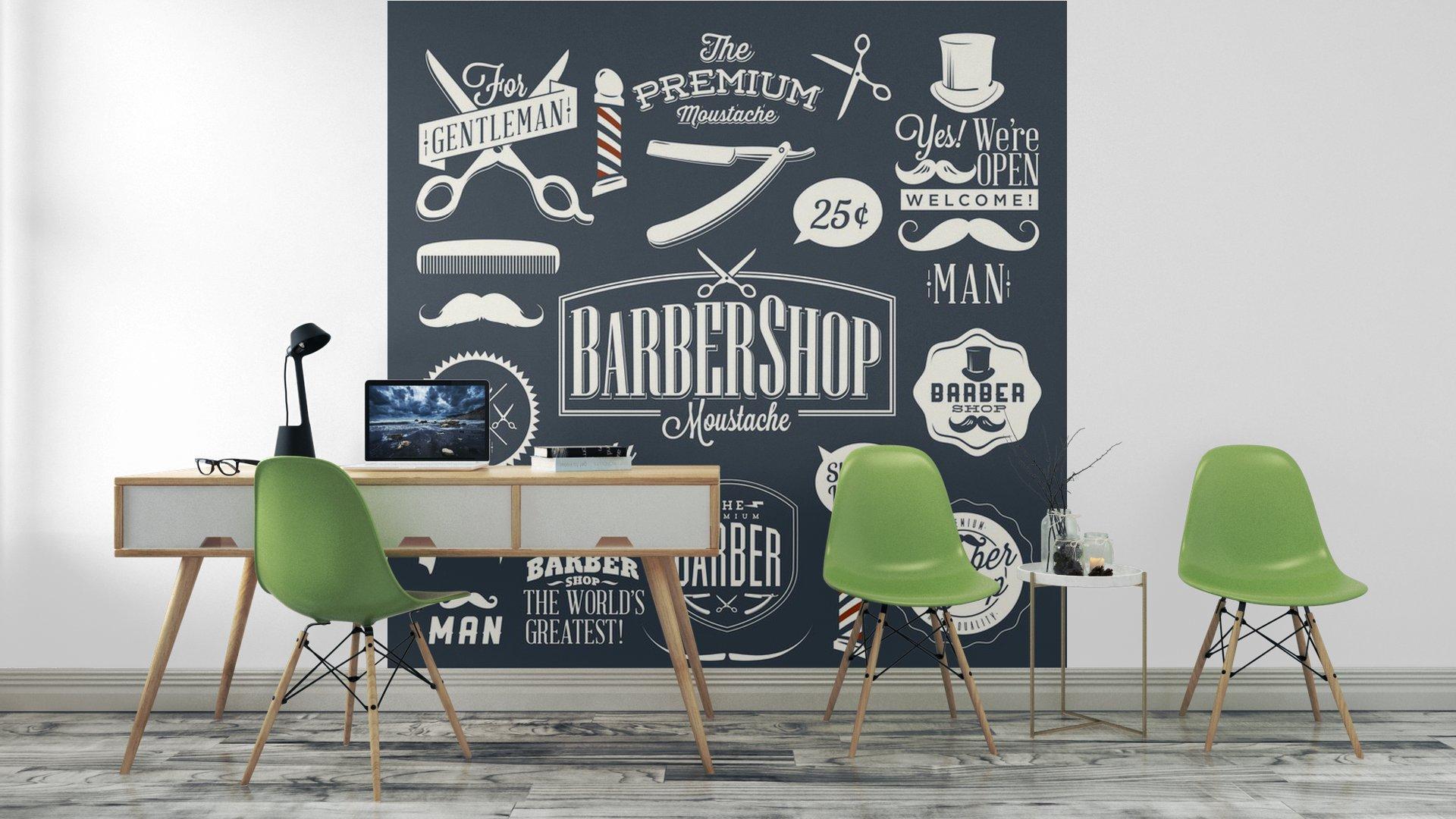 CONJUNTO DE ETIQUETAS DE TIENDA BARBER VINTAGE3 - Fotomural Tapiz Etiquetas de Barbería