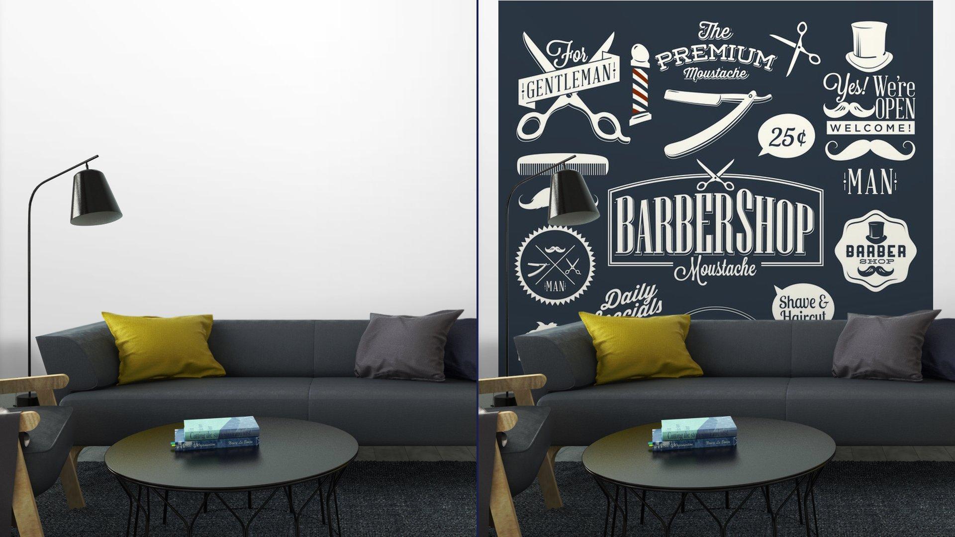 CONJUNTO DE ETIQUETAS DE TIENDA BARBER VINTAGE7 - Fotomural Tapiz Etiquetas de Barbería