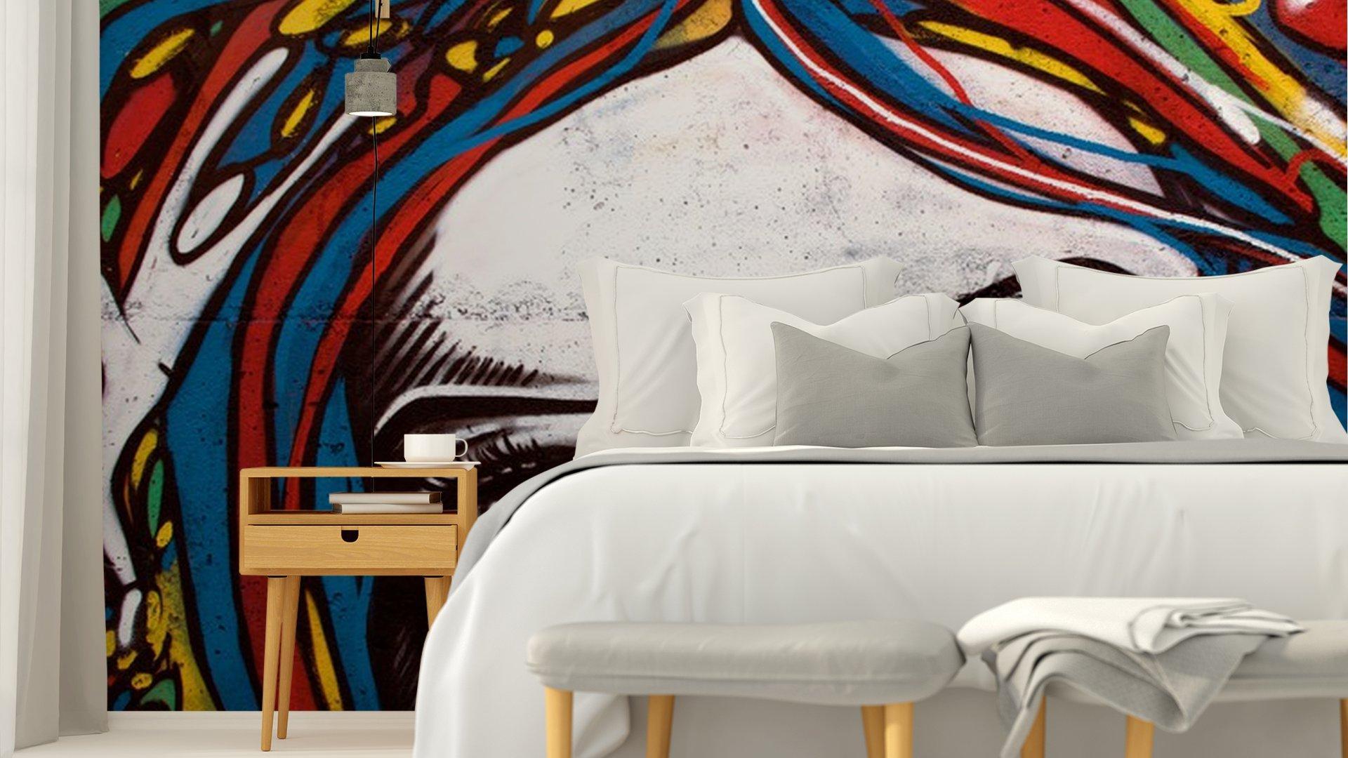 EL GRAFFITI DE ESTILO MODERNO EN LA PARED DE LADRILLO.4 - Fotomural Tapiz Moderno Rostro en Muro Tipo Graffiti