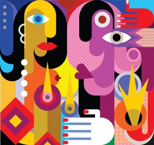 EL HOMBRE Y LA MUJER 500x469 - Fotomural Tapiz Abstracto El Hombre y La Mujer