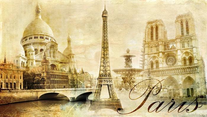 HERMOSO PARIS POSTAL DEL VINTAGE - Fotomural Tapiz Postal de París 01
