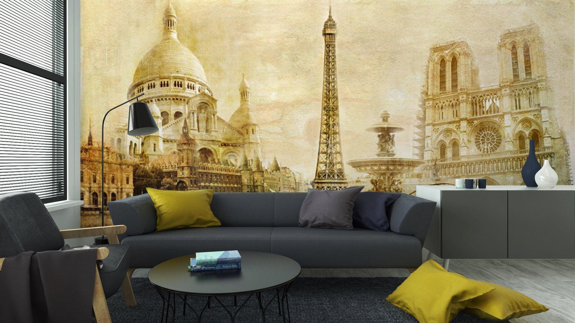 HERMOSO PARIS POSTAL DEL VINTAGE5 - Fotomural Tapiz Postal de París 01