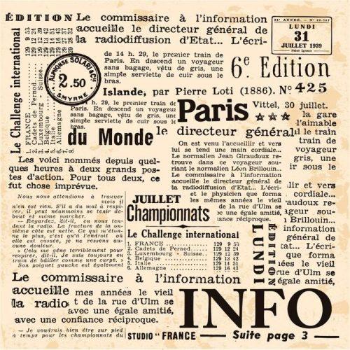 INFORMACIÓN DE FOND 500x500 - Fotomural Tapiz Periódico Antiguo París