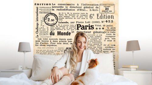 INFORMACIÓN DE FOND1 500x281 - Fotomural Tapiz Periódico Antiguo París