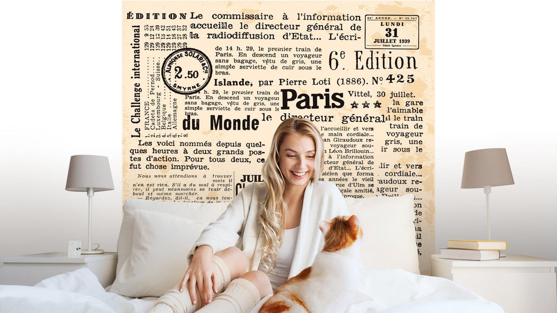INFORMACIÓN DE FOND1 - Fotomural Tapiz Periódico Antiguo París