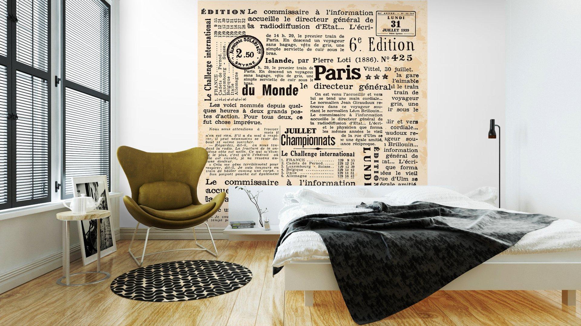 INFORMACIÓN DE FOND2 - Fotomural Tapiz Periódico Antiguo París