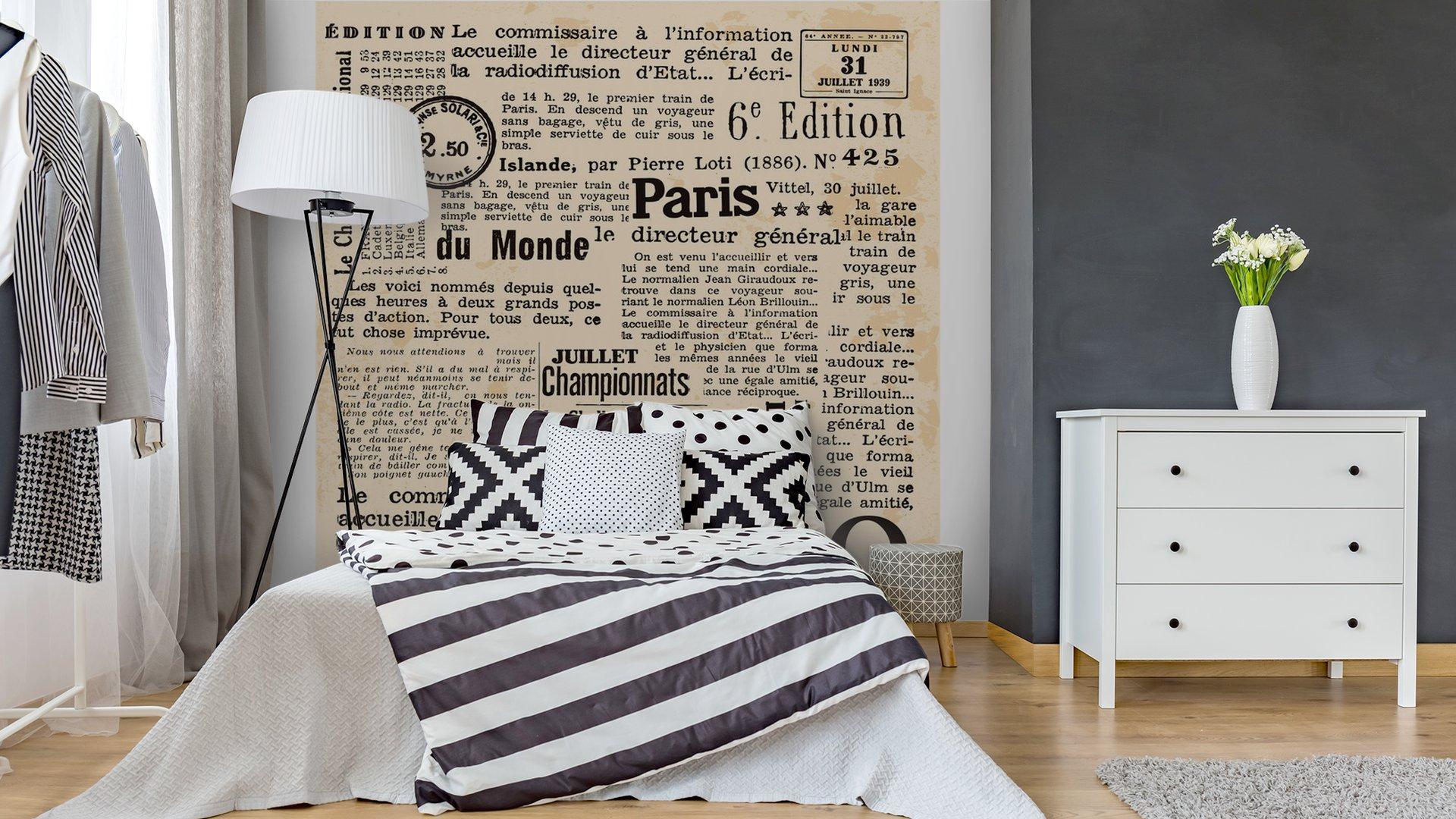 INFORMACIÓN DE FOND3 - Fotomural Tapiz Periódico Antiguo París