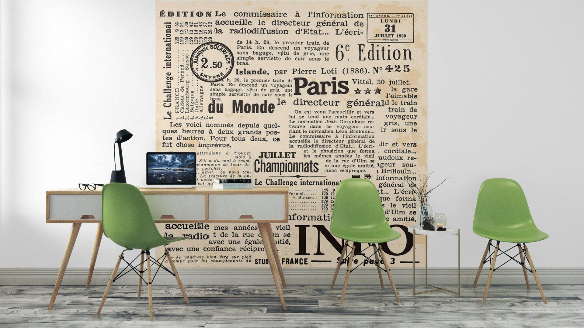 INFORMACIÓN DE FOND4 - Fotomural Tapiz Periódico Antiguo París