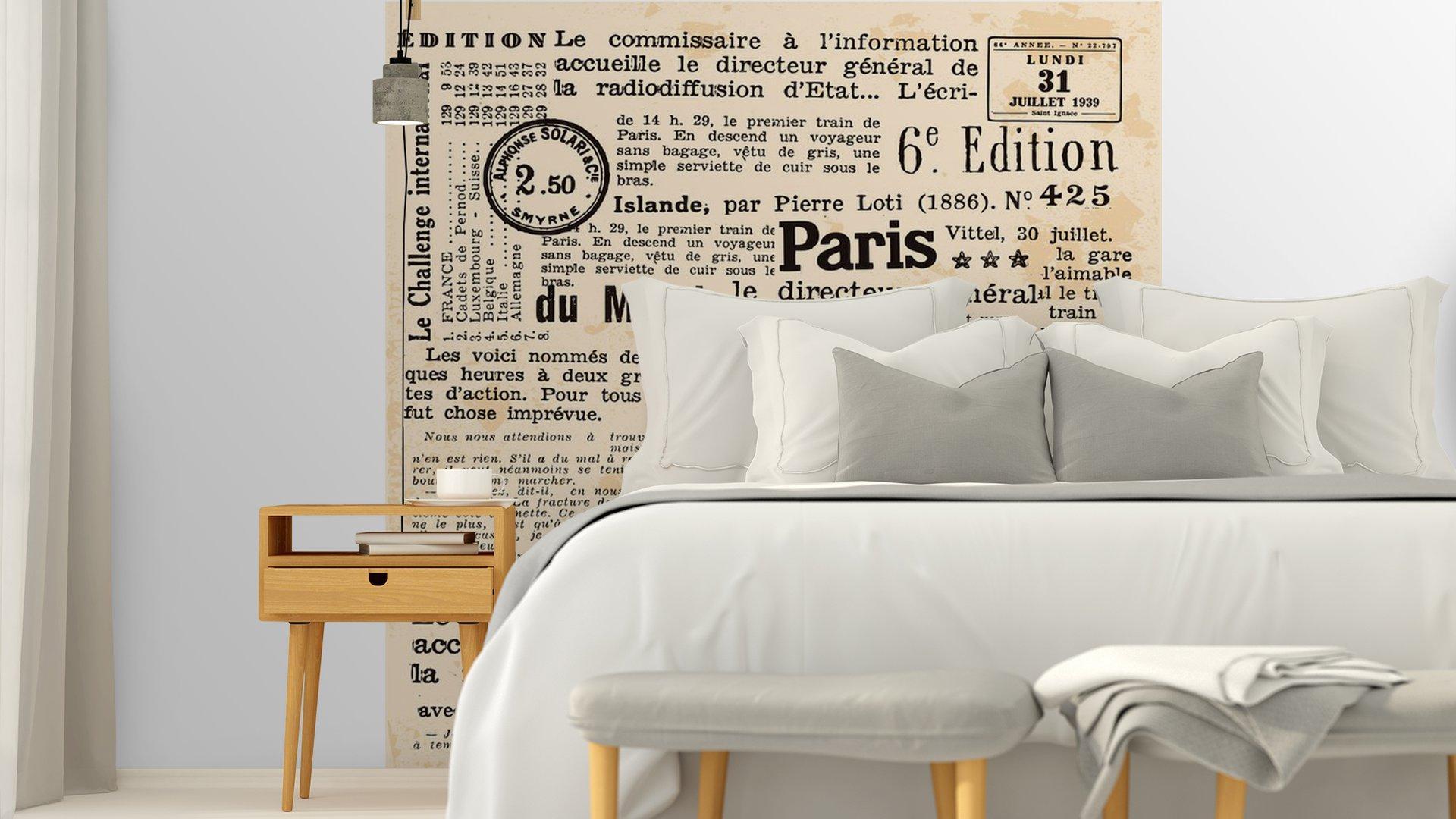 INFORMACIÓN DE FOND5 - Fotomural Tapiz Periódico Antiguo París