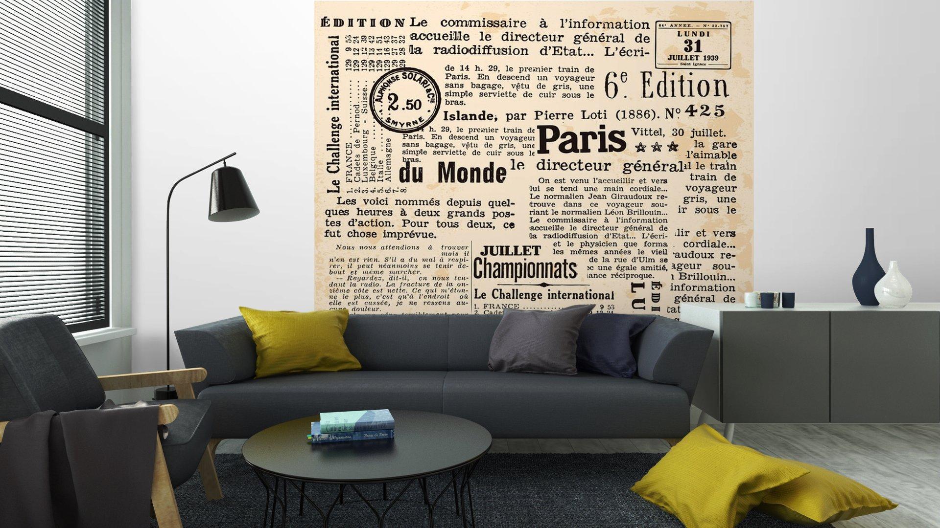 INFORMACIÓN DE FOND6 - Fotomural Tapiz Periódico Antiguo París