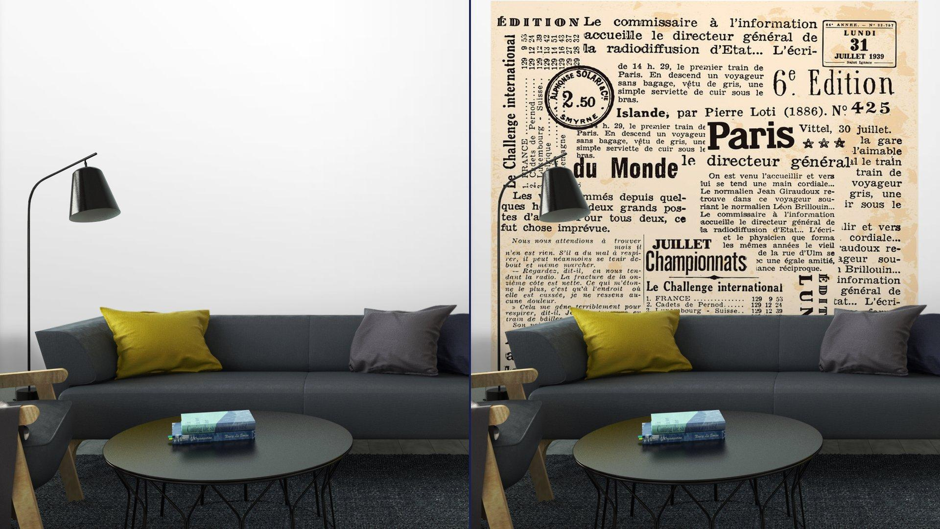 INFORMACIÓN DE FOND8 - Fotomural Tapiz Periódico Antiguo París