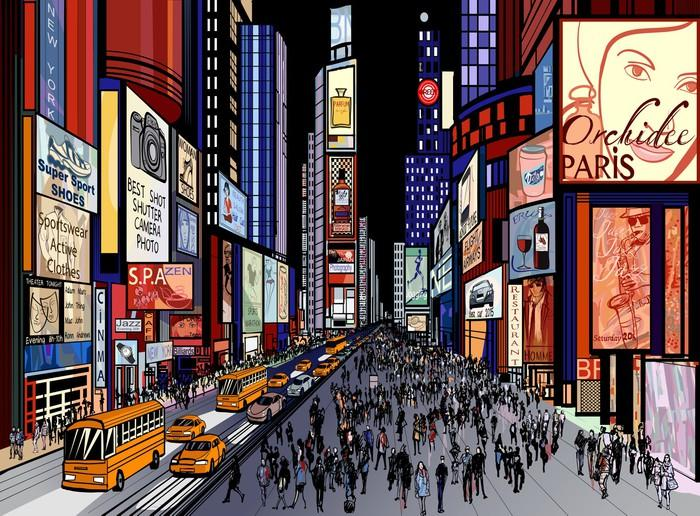 NUEVA YORK VISTA NOCTURNA DE TIMES SQUARE - Fotomural Tapiz Vista Nocturna Nueva York