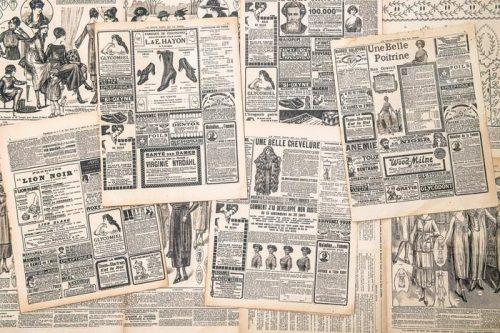 PÁGINAS DE LOS PERIÓDICOS CON ANTIGÜEDAD ANUNCIO 500x333 - Fotomurales Papel Tapiz Vintage y Old Style