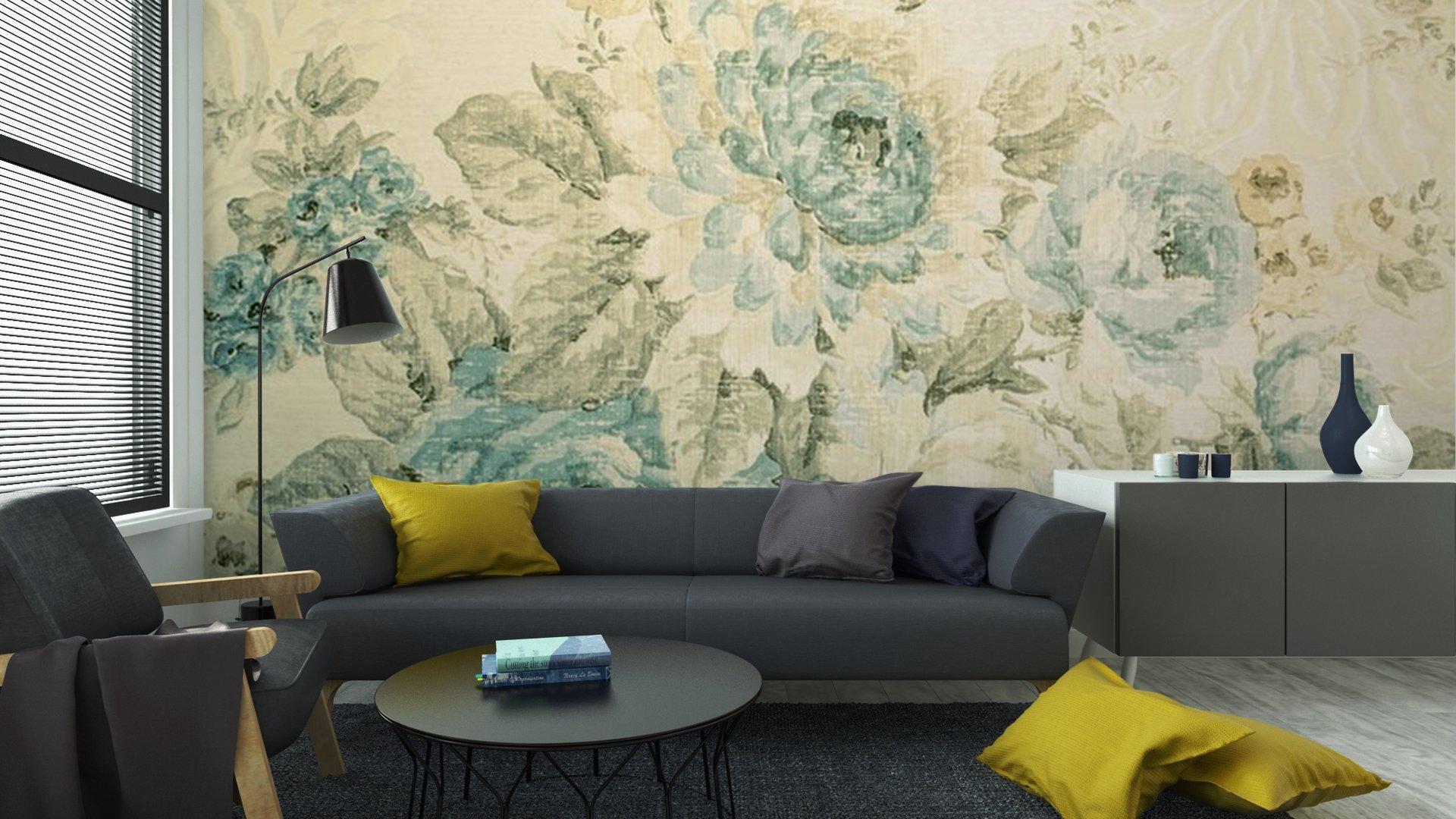 PAPEL PINTADO CON EL MODELO DEL VICTORIAN AZUL FLORAL5 - Fotomural Tapiz Azul Floral Victorian