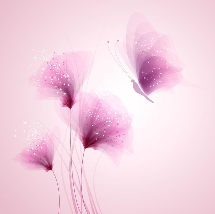 PASTEL DE MARIPOSAS Y FLORES DELICADAS - Fotomural Tapiz Mariposas y Flores Color Pastel