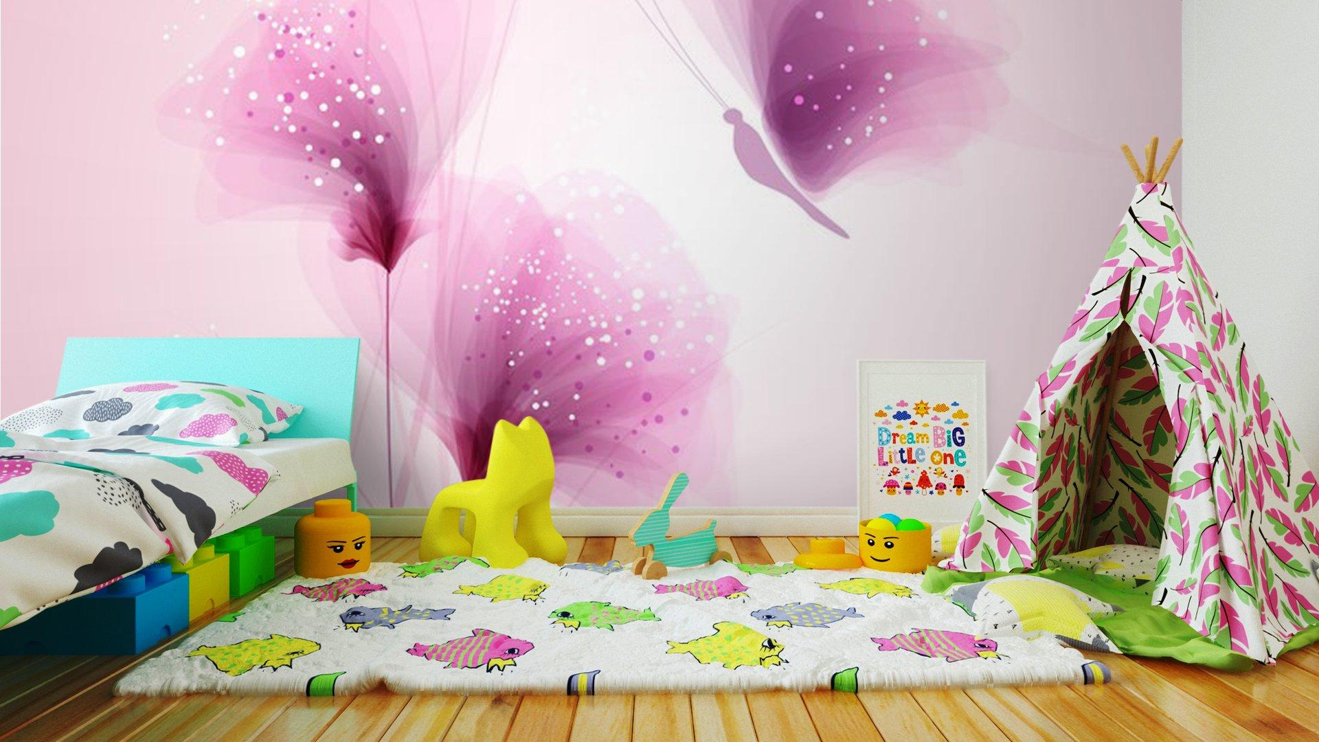 PASTEL DE MARIPOSAS Y FLORES DELICADAS2 - Fotomural Tapiz Mariposas y Flores Color Pastel