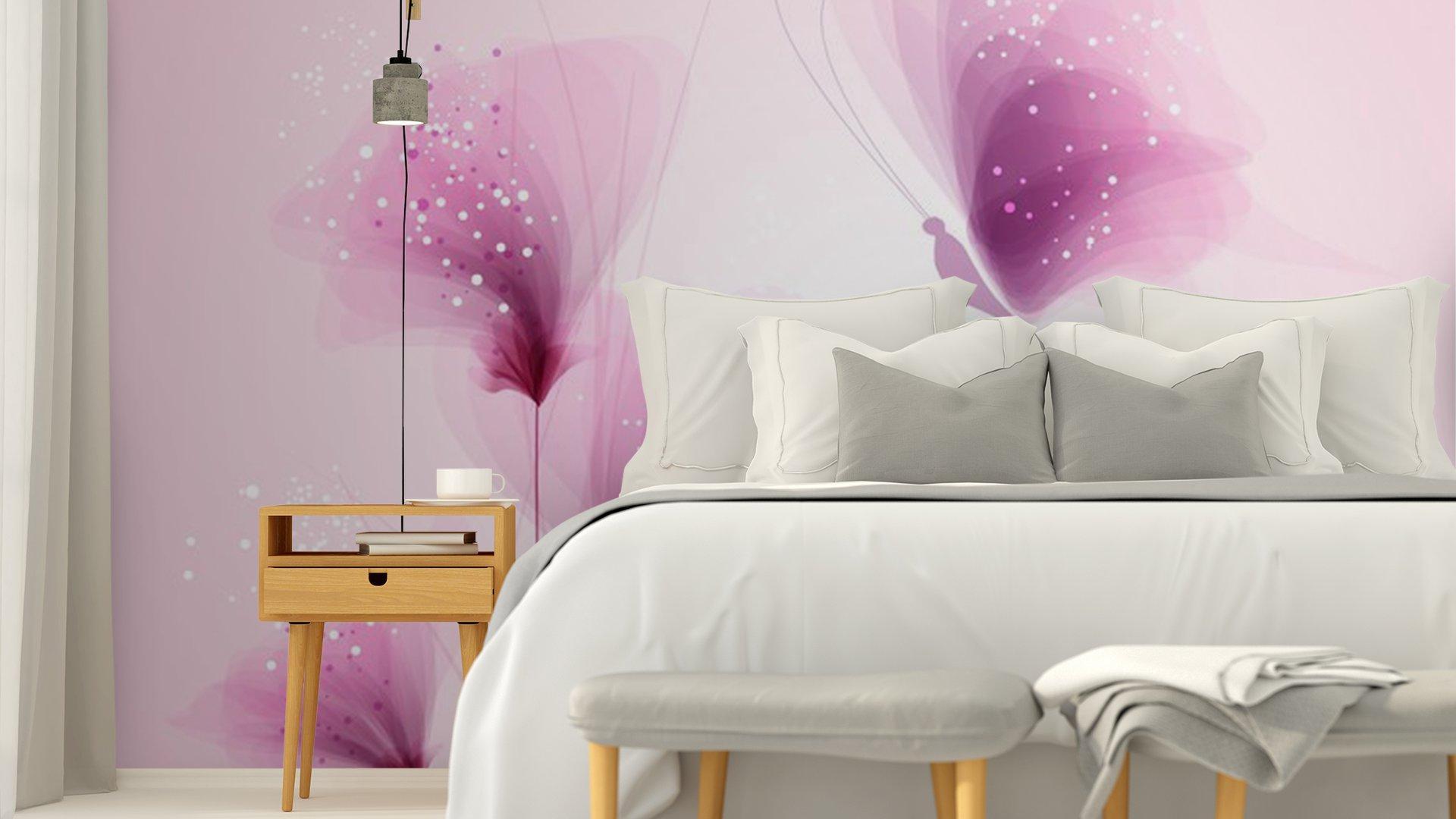 PASTEL DE MARIPOSAS Y FLORES DELICADAS4 - Fotomural Tapiz Mariposas y Flores Color Pastel