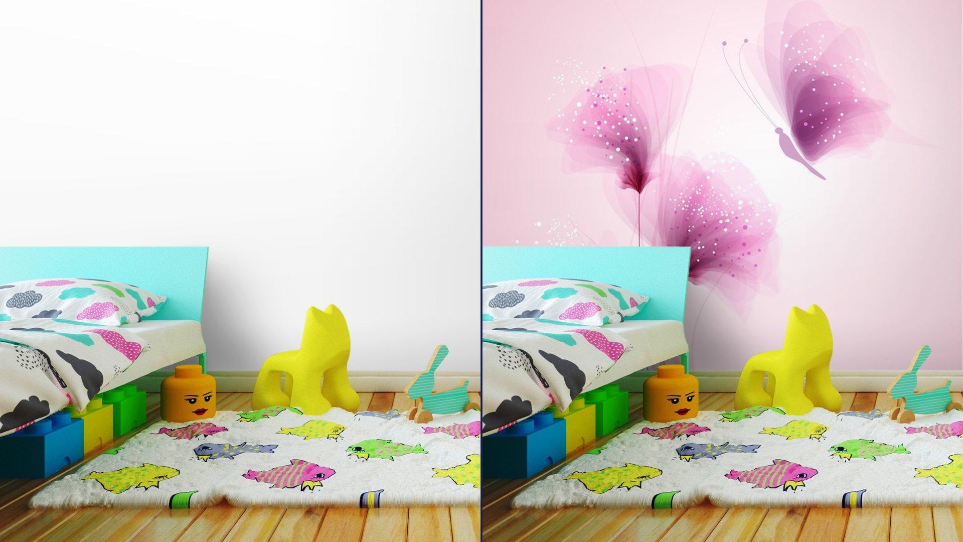 PASTEL DE MARIPOSAS Y FLORES DELICADAS7 - Fotomural Tapiz Mariposas y Flores Color Pastel
