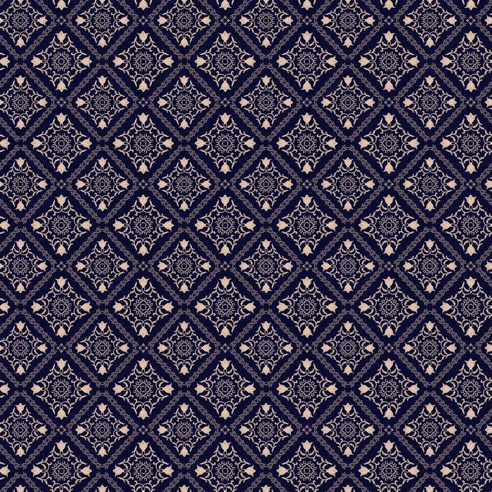 PATRÓN FLORAL. PAPEL PINTADO BARROCO DAMASCO. FONDO DE VECTOR TRANSPARENTE. ORNAMENTO AZUL OSCURO - Fotomural Tapiz Damasco Floral Azul Oscuro