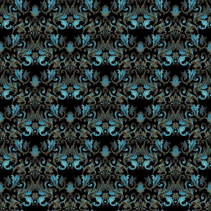PATRÓN SIN COSTURAS FLORAL DAMASCO BARROCO - Fotomural Tapiz Damasco Floral Negro con Azul Vintage