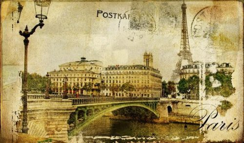 RECUERDOS DE PARÍS FONDO DE LA VENDIMIA 500x294 - Fotomural Tapiz Recuerdo de París